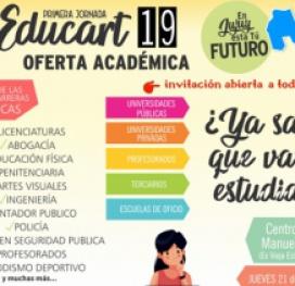 Educart/19: Darán a conocer la oferta educativa en la provincia